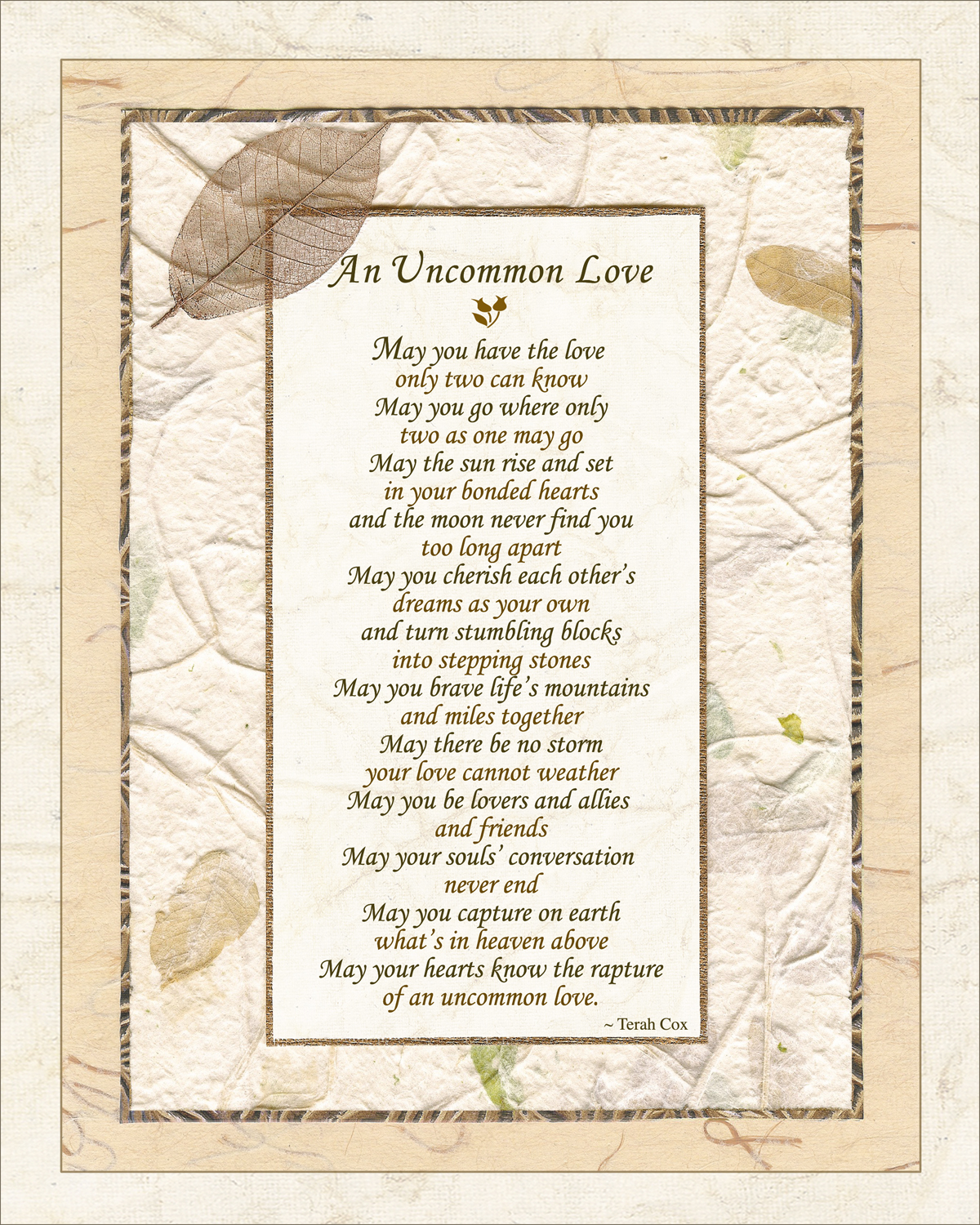 UNCOMMON LOVE, Wedding Poem By Terah Cox