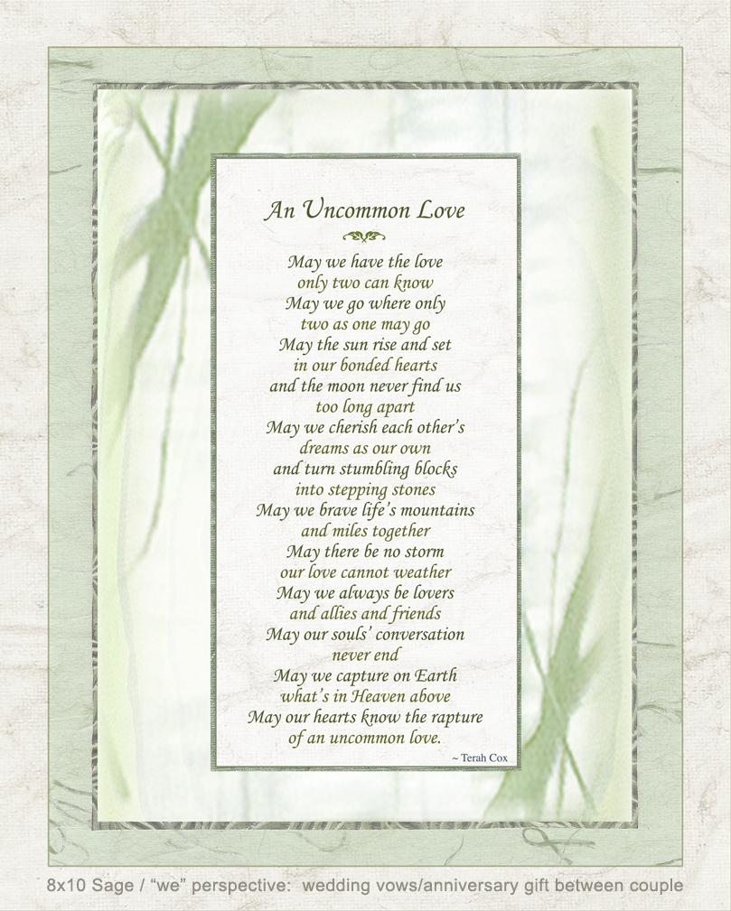 Uncommon Love Wedding Poem By Terah Cox